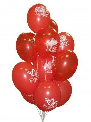 """11 шариков с рисунком """"I Love you!"""" #615"""