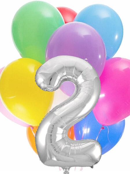Цифра + 10 шариков с гелием #611
